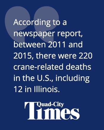 According to a newspaper report, between 2011 and 2015, there were 220 crane-related deaths in the U.S., including 12 in Illinois.