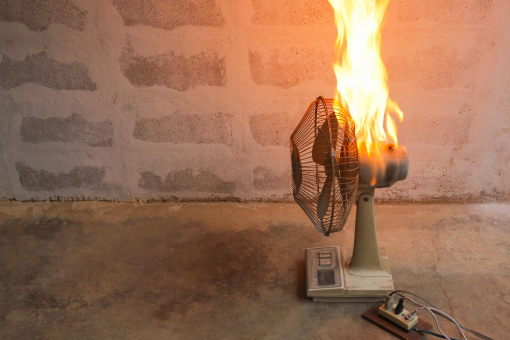 faulty fan on fire